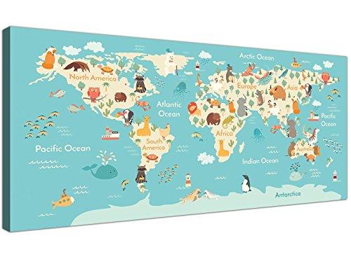 Animal mapa mundo Atlas lienzo habitación infantil–Educational