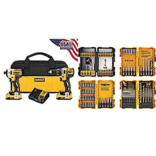 DEWALT DCK283D2 20V MAX XR Compact Cordless Drill/Driver & Impact Driver Combo Kit with DEWALT DWA2FTS100 Screwdriving and Drilling Set, 100 Piece