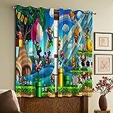 Super Mario Bros Cortinas con ojales para sala de estar, cortinas para dormitorio W52 x 63 L
