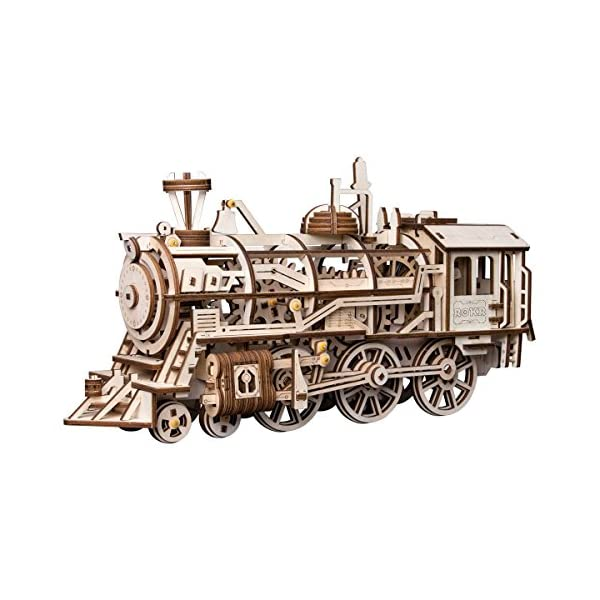 ROBOTIME 3D Assembly Wooden Puzzle Laser-Cut Locomotive Kit Mechanical Gears Toy...