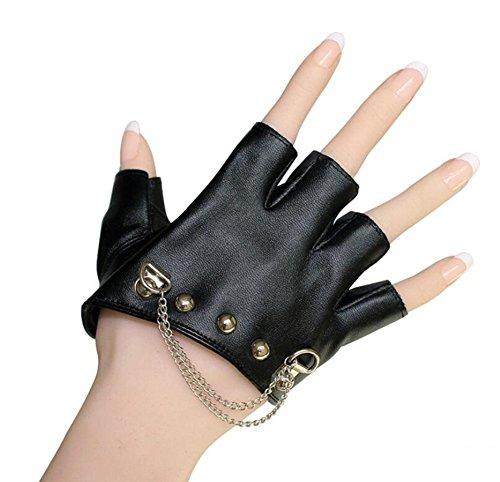 SHU LI Guantes de mujer de cuero negro con tachuelas para Halloween estilo punk (Varios)
