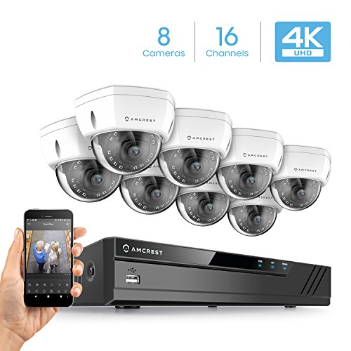 Amcrest 4K Security Camera System w/ 4K 16CH (8-Port PoE) NVR, (8) x 4K (8-Megapixel) IP67 Weatherproof Metal Dome POE IP Cameras (3840x2160), 2.8mm Wide Angle Lens, NV4116E-HS-IP8M-2493EW8 (White)