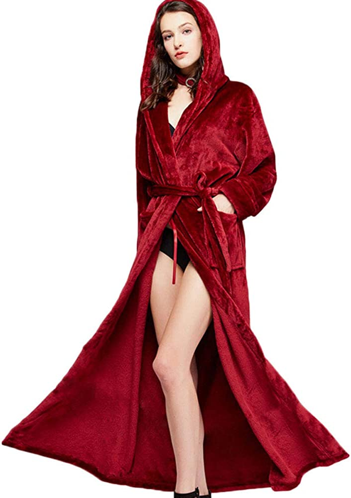 Michealboy Couple Solid Long Bathrobe Soft Warm Winter Flannel with Pockets