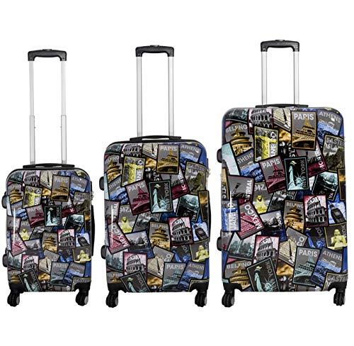TOP Trolley-Koffer-Sets - Diverse Motive - 3-teilig - 74 + 64 + 54 cm - 4 Rollen - Hartschale (City)