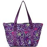 Nylon Family Travel Tote Beach Bag with Zipper for Women, Teacher or Nurse (Purple Peace Hearts)