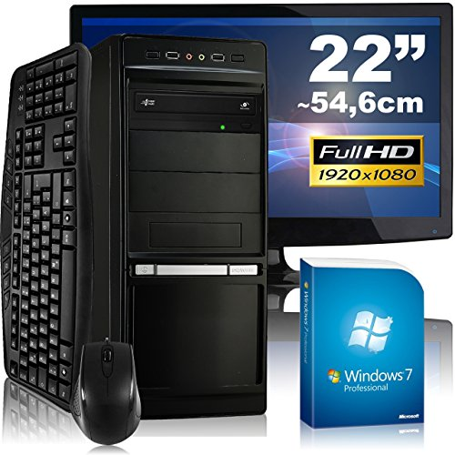 Allround-PC tronics24 Optimus a8324S Komplett-Set   AMD FX-8320 8x 3.5GHz   4GB RAM   AMD Radeon R7 240 2GB   500GB HDD   DVD-RW   Gigabit-LAN   5.1 Sound   Win 7 Pro   55cm (22