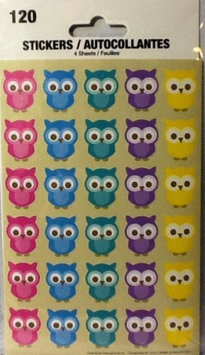 Owl Stickers ~ 4 Sheets ~ 5 Colors of Adorable Owls ~ 120 Stickers ~ Hoot & Howl by Tri-coastal Design