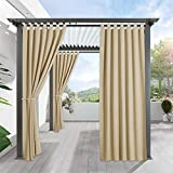 RYB HOME Pergola Outdoor Drapes - Blackout Patio Outdoor Curtains Waterproof Outside Deor Privacy Protect for Pavilion/Porch/Yard/Cabin, 1 Panel, W 52 x L 84 inch, Cream Beige