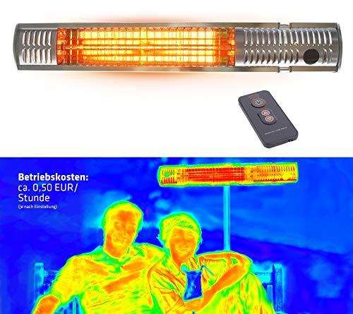 Gardigo Edelstahl Infrarot Heizstrahler | Goldröhre - weniger Stromverbrauch | Wärmt gezielt Menschen | Infrarotstrahler | 4-Stufen | Außenbereich
