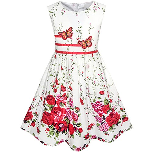Sunny Fashion KH34 Girls Dress Butterfly Flower Party Age 9-10 Years White