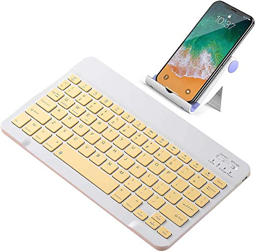 FANG Bluetooth Keyboard, Colorful Ultra-Slim Rechargeable Wireless Bluetooth Keyboard for IOS, Android, Windows, and Mac, Keyboard for IPad Pro 11 12.9 2020,Yellow