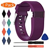 KingAcc Compatible Replacement Bands for Fitbit Charge HR, Soft Silicone Band with Metal Buckle Fitness Wristband Sport Strap Women Men (1-Pack, Dark Purple/Plum, Large)