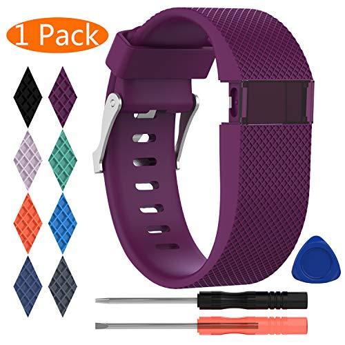 KingAcc Kompatibel Charge HR Armband, Weiche Silikon Ersatz Armbänder Armband für FitbitCharge HR, Metall Schnalle Fitness Armband Uhrenarmband Frau Männer (1-Pack, Dunkelviolett, Groß)