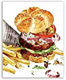 AQgyuh Puzzle 1000 Pezzi Hamburger Kitchen Acquerello Cheeseburger con Patatine Fritte Art Painting Puzzle 1000 Pezzi Arte Puzzle educativi intellettuali decompressivi Giocattolo Pu50x75cm(20x30inch)