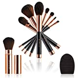 Juego de 8 pinceles de maquillaje color oro rosado fibras suaves Vegan kit de maquillaje de alta calidad, regalo elegante estuche para pinceles de viaje para limpiar pinceles profesional