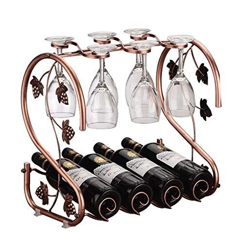 estantería de vino Estante de vino Estante de encimera de vino de metal Estante de almacenamiento de vino 6 Estante de copas de vino 4 botellas Soporte de vino Decoración del gabinete de vino titular
