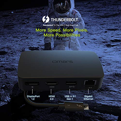 Omars USB C Hub Thunderbolt 3.0 Adapter mit Dual Videoausgängen (HDMI & Displayport 4K 60hz), USB 3.0 Port, RJ45 Gigabit Ethernet 1000Mbps für MacBook Pro Dell XPS Thinkpad Asus Huawei Matebook