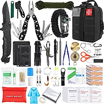 Gifts for Men Dad Husband Fathers Day KOSIN Survival Gear and Equipment,100 Pcs Survival Kit First Aid Kit Molle System Compatible Outdoor Gear Emergency Tourniquet Medical Kit Trauma Bag for Camping