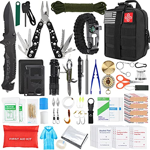 Gifts for Men Dad Husband Fathers Day, KOSIN Survival Kit, 100 Pcs Survival Gear Molle System Compatible Outdoor Gear Emergency Kits Trauma Bag for Camping Hunting Hiking and Adventures