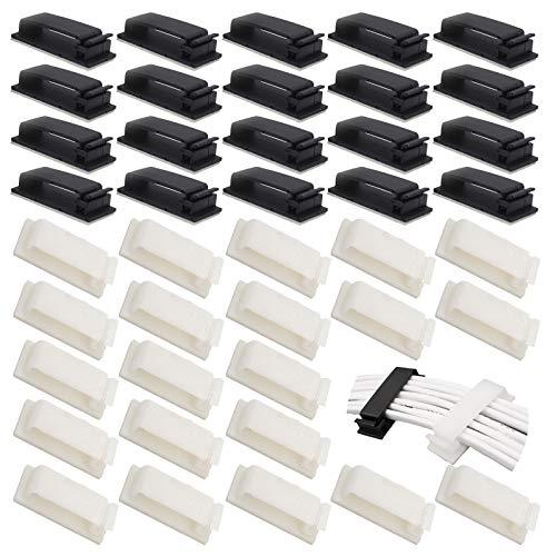 Sujeta Cables Mesa Clips Organizador de Cables Autoadhesivo Ordenador Cable Eléctrico Sistema de Gestión Cable Abrazadera de Alambre Organizador Se utiliza para la gestión de cables (40 piezas)