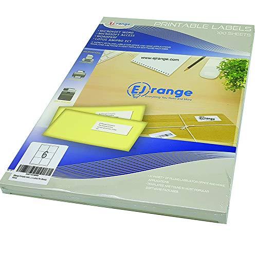 EJRange Nuevas etiquetas adhesivas para direcciones fáciles de despegar, 6 etiquetas por cada hoja A4, 100 hojas - 600 etiquetas en total, compatible con impresoras, etiquetas autoadhesivas multiuso