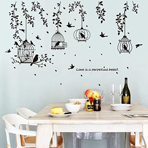 Rjjrr PVC Wall Sticker Birds Black Cage Tree Leaf Sofa Dining Room Bedside Tv Bedroom Self Adhesive Decals Poster Home Decoration Bedroom