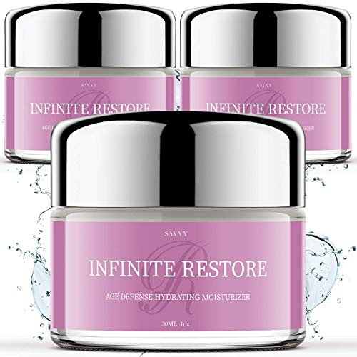 (3 Pack) Infinite Restore Moisturizer Age Defense Hydrating Cream, Anti Aging Skin Care for Face Wrinkles and Fine Lines Age Spots - Collagen Production Beauty (3oz)