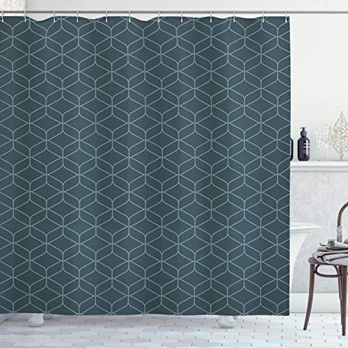 ABAKUHAUS Quatrefoil Duschvorhang, Marokkanische Linienformen, mit 12 Ringe Set Wasserdicht Stielvoll Modern Farbfest & Schimmel Resistent, 175x180 cm, Blaugrau & Hellblau