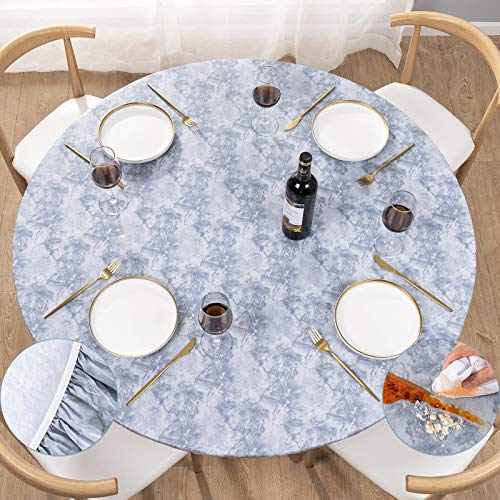 UMINEUX Round Fitted Vinyl Tablecloth with Elastic Edged & Flannel Backing, Waterproof Wipeable Round Table Cover for Indoor Outdoor Patio Use - Fits...