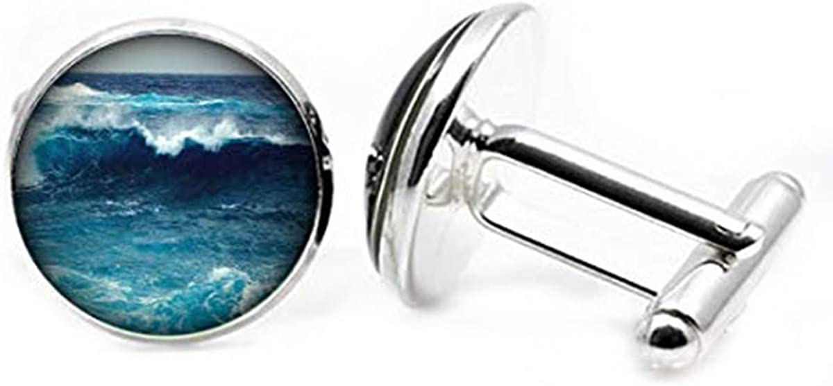 Hobbs Wave Cufflinks Charming Picture Denver Mall Glass Classic Dome Cuf