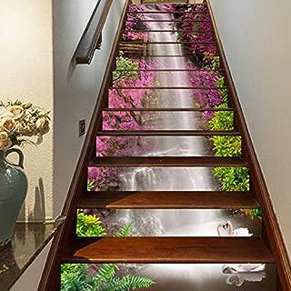 FLFK 3D Purple Flowers Waterfall Self-Adhesive Staircase Stickers Murals 39.3