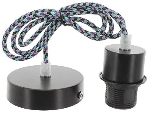 Casquillo con cable de tela y de techo de canopy colgante de lámpara de mesa con cable E27 de colour azul-púrpura
