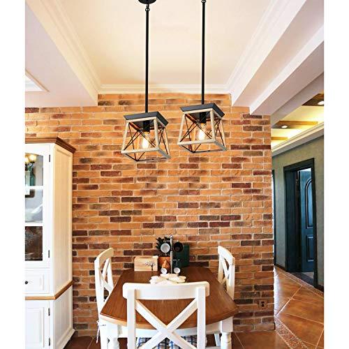 XIPUDA Farmhouse Pendant Light Fixture Kitchen Island Lighting Industrial Metal Ceiling Hanging Chandeliers for Dinning Room Living Room (Oak)