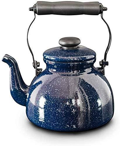 Creativity Enamel Gas Kettle 2L Tea Pots Soft Touch Black Easy Grip Handle for Induction Hobs Gas Blue 17 * 18cm