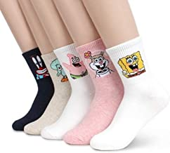 Spongebob Cartoon Crew Socks 5 pairs Women Kids Patrick Squidward Sandy Cheeks
