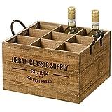 Caja de Botellas Botellero Soporte para Botellas Madera Abeto Vintage 40 cm 'Urban Classic Supply'