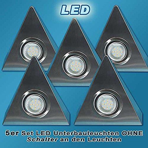 5er Set LED Edelstahl Dreieckleuchten 2,5W HIGH LED WARMWEISS OHNE Schalter von JAC Beleuchtung24®