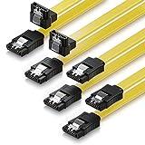 deleyCON 4x 0,5m Cavo SATA 3 SATA III HDD SSD Cavo Dati 6 GBit/s - 2x Diritto + 2x Diritto a 90° - Giallo