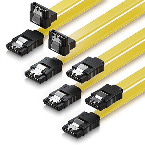 deleyCON 4X 50cm SATA III Kabel S-ATA 3 Datenkabel 6 GBit/s Verbindungskabel Anschlusskabel für HDD SSD - Metall-Clip - 2X Gerade zu Gerade + 2X 90° zu Gerade - Gelb