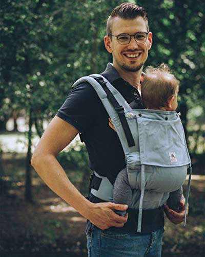 LIMAS Flex Babytrage Fullbuckle | 56-104 cm | Bauchtrage & Rückentrage & Onbuhimo | ab 2.-3. Monate bis 3+ Jahre | Baby Carrier | Sky