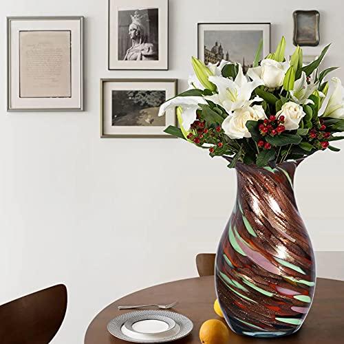 LUSUNT H28cm Florero de cristal de lujo, Porcelana de imitación, Combinación de colores creativos, Decoración del hogar de la oficina del hotel de la boda, Hecho a mano, Regalos para familiare