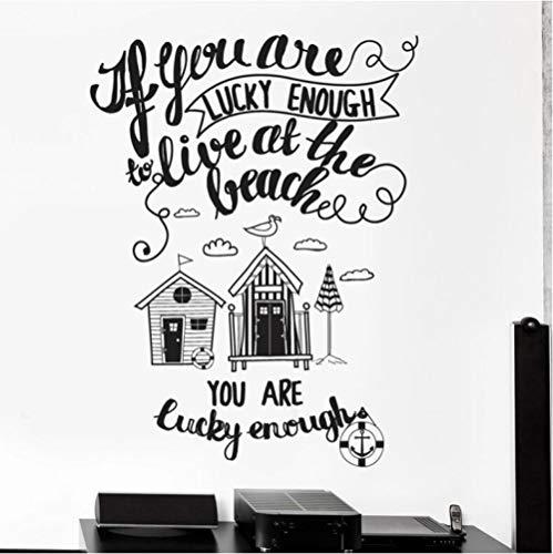 Pegatinas Etiqueta De Pared Texto Playa Casa Junto Al Mar Palabras Inspiradoras Dormitorio Sala De Estar Niños Guardería Decoración Del Hogar 55×74cm