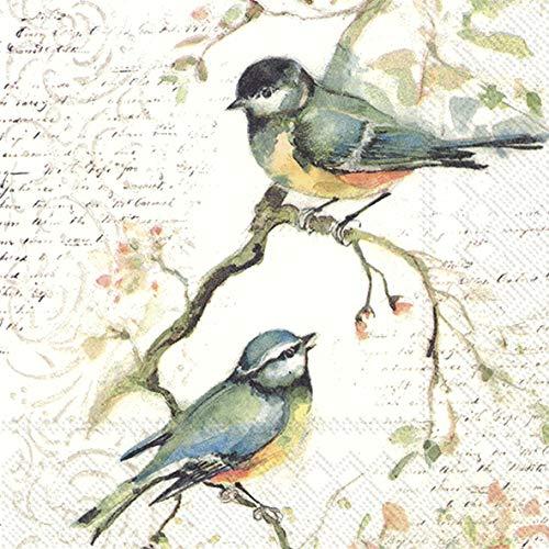 20 Servietten Meisen im Vintage-Look | Vögel | Herbst | Wald 33x33cm