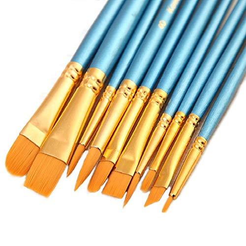 ONE HAPPY CHOICE 1 juego de 10 pinceles de pintura de pelo sintético, azul, para pintura acrílica, óleo y acuarela.