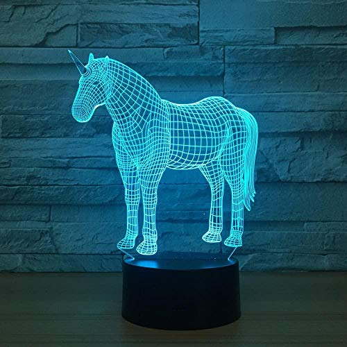 Lámpara de ilusión LED 3D, caballo animal, decoración de luz USB, juguetes de dormitorio, cumpleaños, niños, acrílico, cabecera de bebé, regalos para habitación de niños-7 color touch