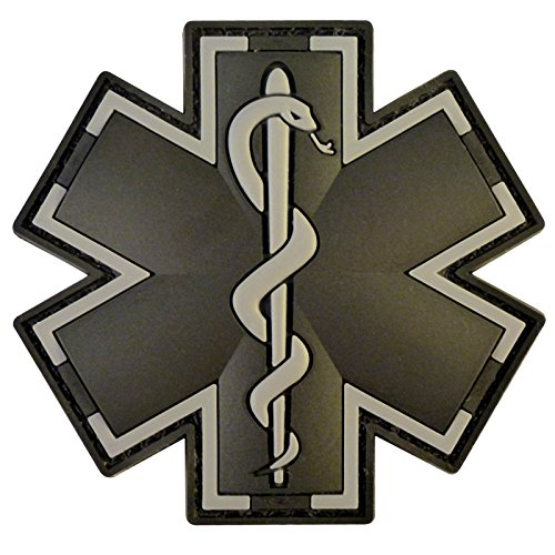 2AFTER1 ACU Black EMS EMT Medic Paramedic Star of Life Morale Tactical PVC 3D Hook-and-Loop Patch