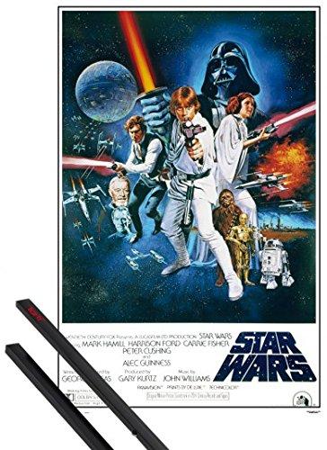 1art1 Star Wars Póster (91x61 cm) Episodio IV, Una Nueva Esperanza, Cartel De Cine Y 1 Lote De 2 Varillas Negras