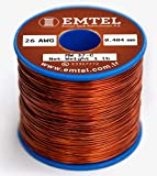 Emtel 26 AWG Enameled Copper Wire | 26 Gauge Magnet Wire for Motor, Transformer, Speaker, Magnetic Coil, Winding Wire | 220°C (428°F) | Double (Heavy) Build Insulation | 1 Pound (lb) Spool