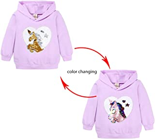 Accreate Children Kids Girls Spring Autumn Round Neckline Sequined Pony Loose Hooded Discolored Top TTS7954Z Purple 140
