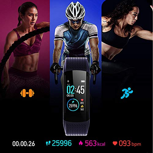 WalkerFit Fitness Tracker, Activity Tracker with Heart Rate Monitor, Waterproof Standard Smart Watch with Pedometer, Deep Blue 3